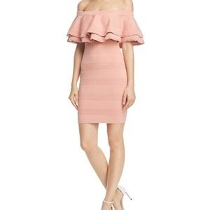 Endless Rose ruffle off shoulder pink tiered dress